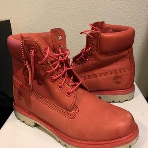 Authentic Timberland Pink White Sole Boots Size 8